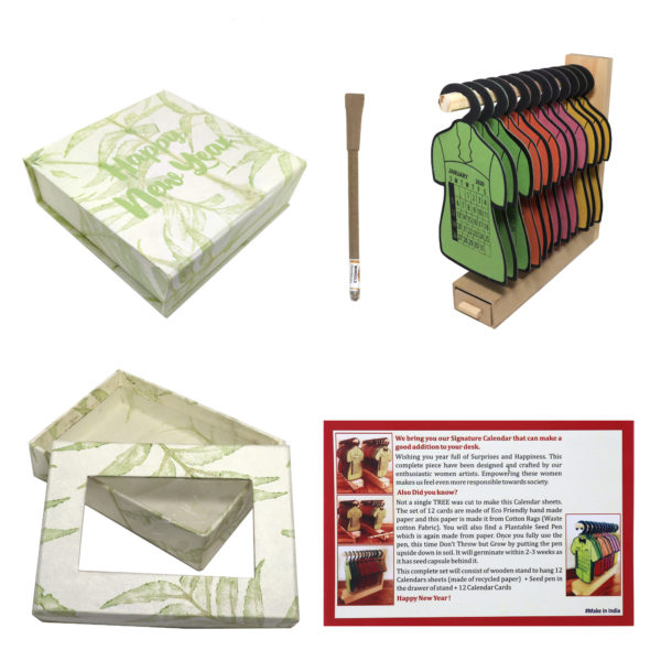 New Year Dress Calendar with box and Plantable Seed Pen